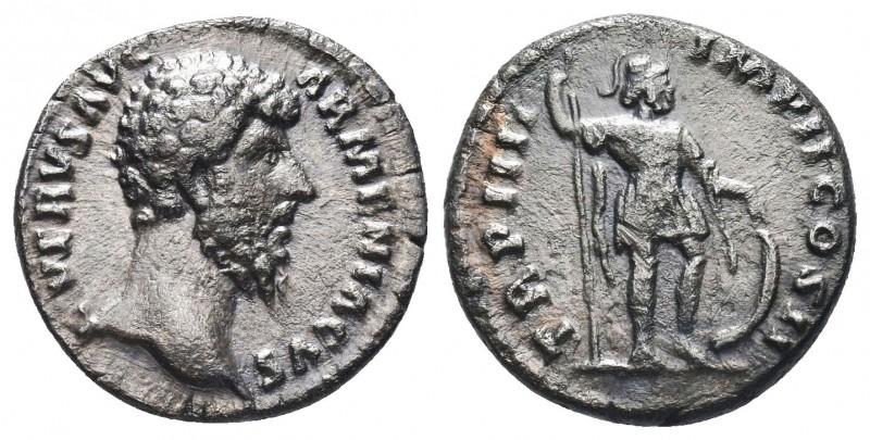 Denario Lucio Vero. TR P IIII IMP II COS II. Marte estante a dcha. Roma. 11490510