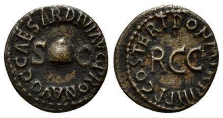 Cuadrante Caligula. PON. M. TR. P. III P. P. COS. TERT alrededor de R.C.C. Roma. 18610