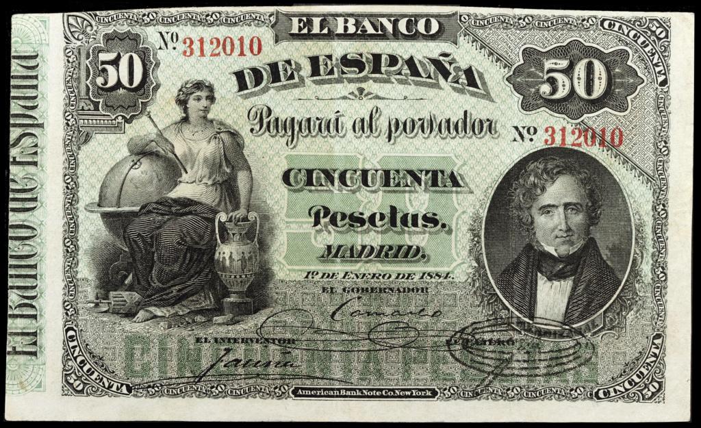 50 Pesetas 1884 Juan Álvarez Mendizábal 50p18810