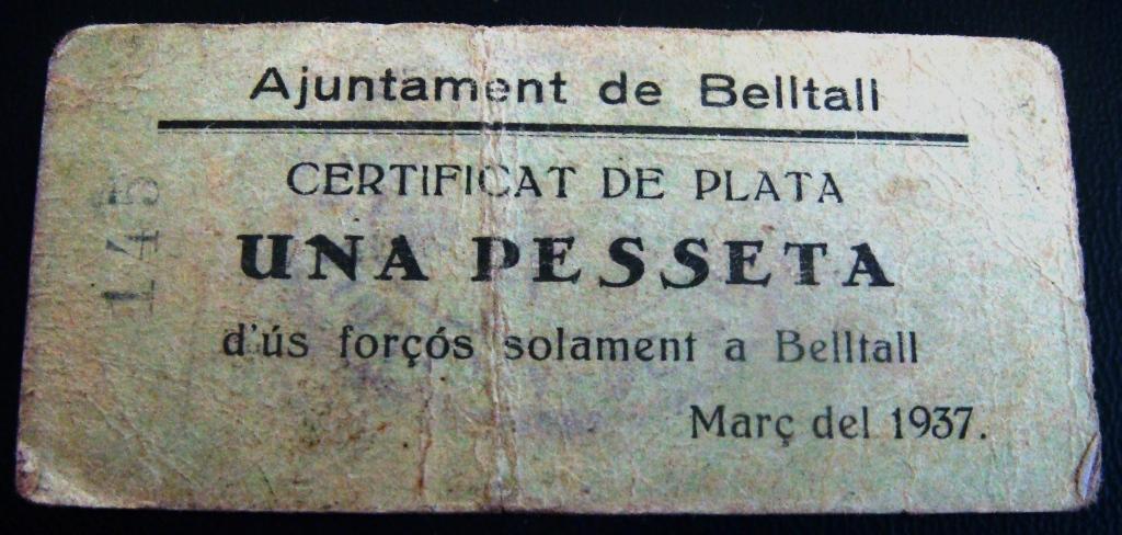 1 Peseta Belltall, 1937 Bellta10