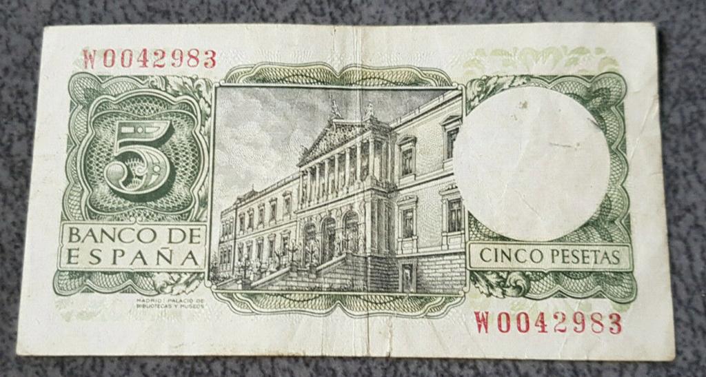 5 pesetas 1954 serie W Captur26