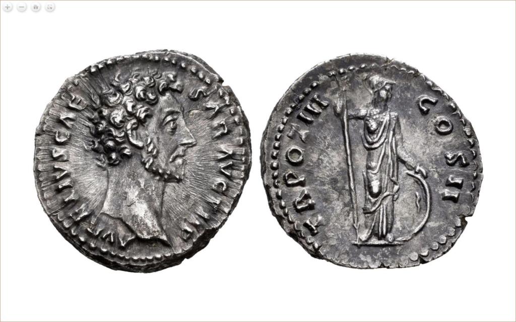 Denario de Marco Aurelio. TR POT III COS II. Minerva a dcha. Roma Denari11