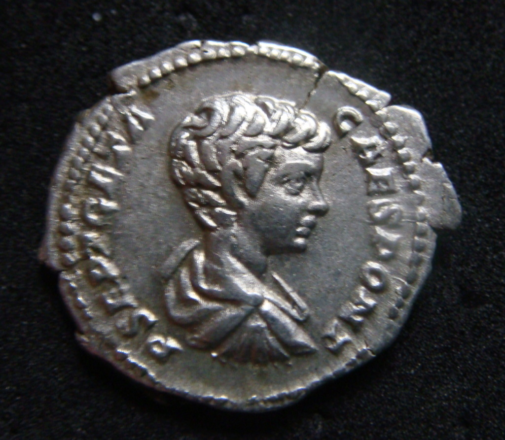 Denario de Geta Caesar. SECVRIT IMPER II. Securitas sedente a izq. Roma. Dsc04623