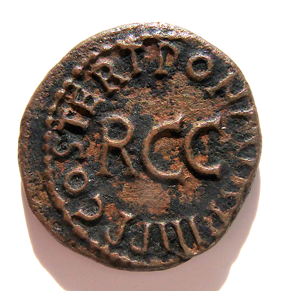 Cuadrante Caligula. PON. M. TR. P. III P. P. COS. TERT alrededor de R.C.C. Roma. Dsc04977