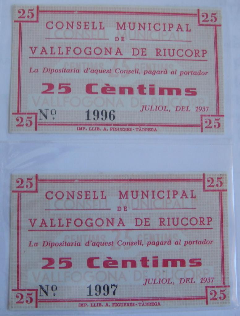 25 Céntimos Vallfogona de Riucorb, 1937 (Pareja) Dsc05022