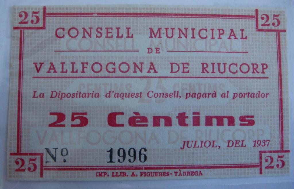 25 Céntimos Vallfogona de Riucorb, 1937 (Pareja) Dsc05023