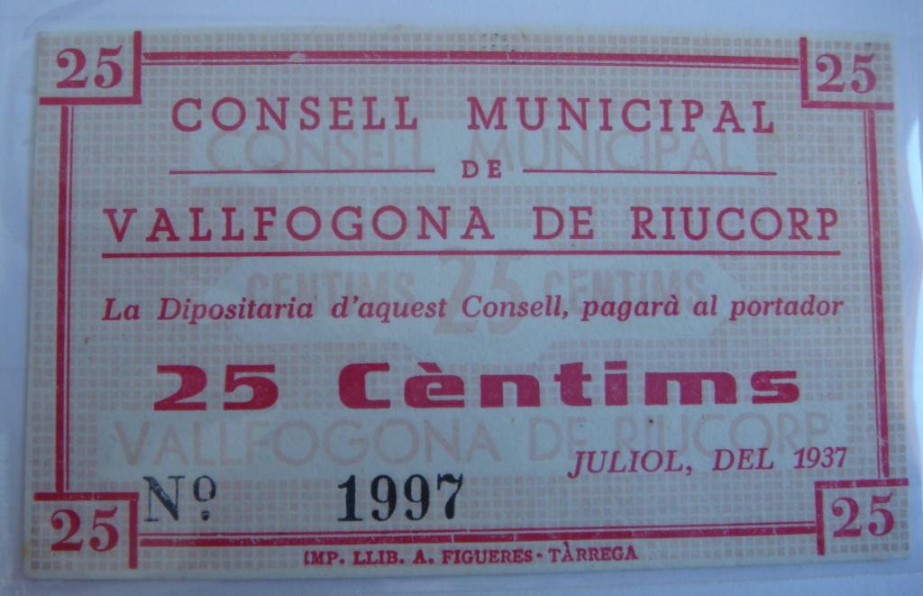 25 Céntimos Vallfogona de Riucorb, 1937 (Pareja) Dsc05024