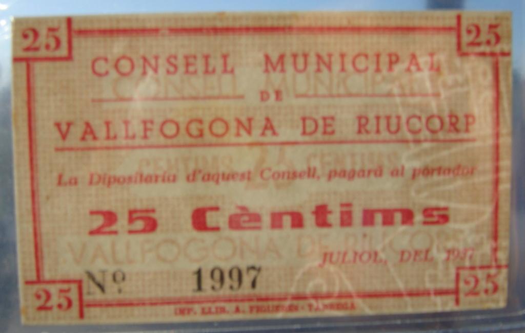 25 Céntimos Vallfogona de Riucorb, 1937 (Pareja) Dsc05030