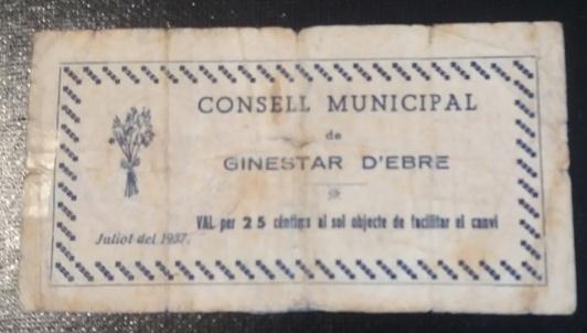 25 Céntimos Ginestar d'Ebre, 1937 Foro110