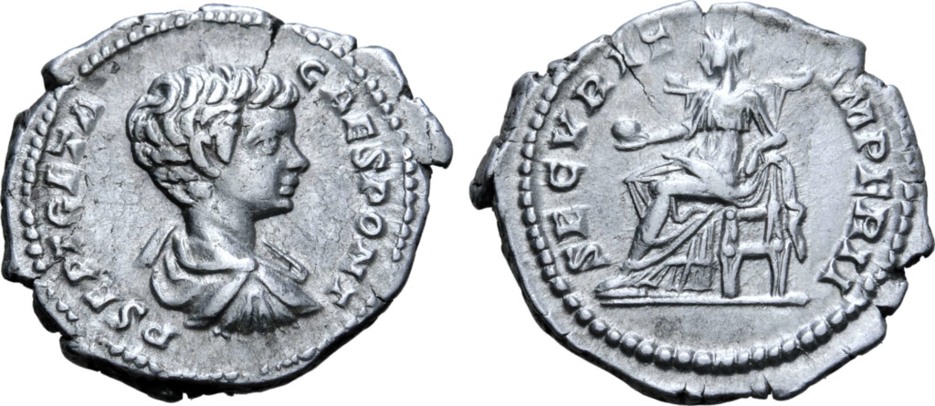 Denario de Geta Caesar. SECVRIT IMPER II. Securitas sedente a izq. Roma. Geta_a10