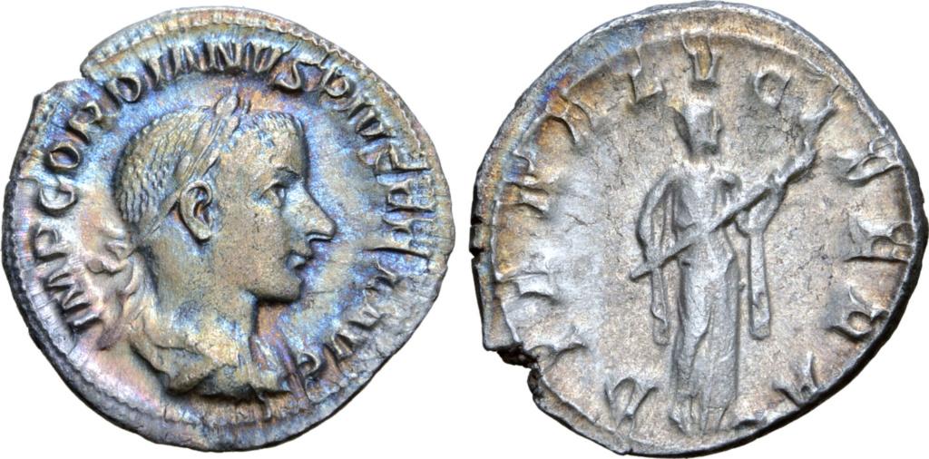 Denario de Gordiano III. DIANA LVCIFERA. Diana estante a dcha. Roma. Gordia10