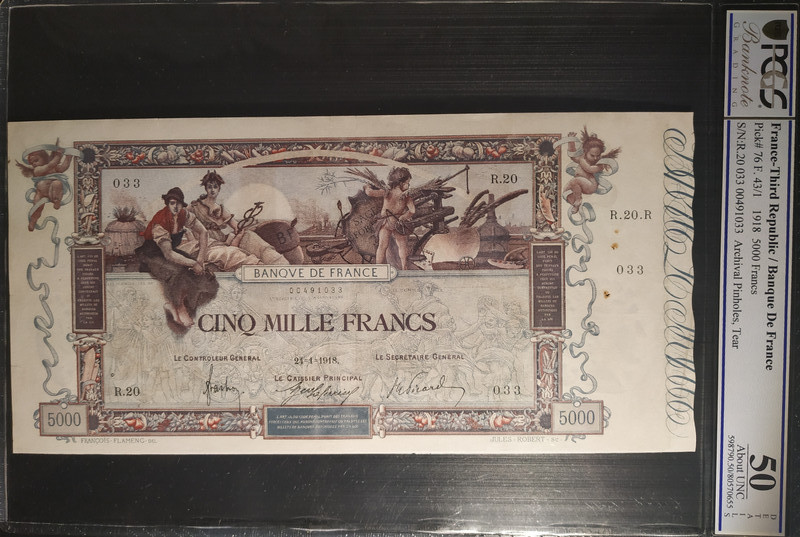 5000 Francos 24-01-1918, Flameng. Aunque parezca oscura, se ve bastante bien. Uno de mis billetes favoritos. Curioso tiene 2 marcas de agua. Img-2012