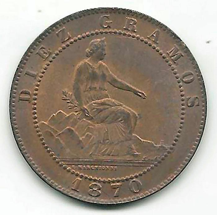 10 Céntimos 1870. Gobierno Provisional.  M10_r_10