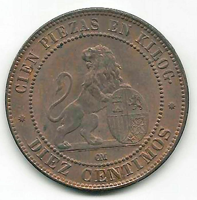 10 Céntimos 1870. Gobierno Provisional.  M10_s-10