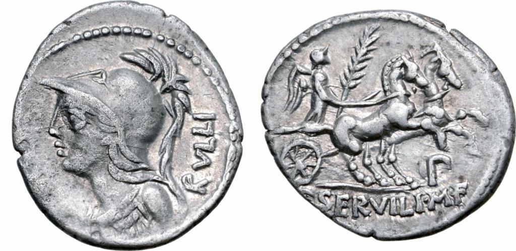 Denario de la gens Servilia. P SERVILI. M. F. Victoria en una biga a galope a dcha. Roma. Photo-11