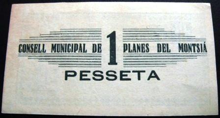 1 pesseta Planes del Montsià (1a emissió, 1937) Planes10