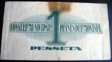 1 pesseta Planes del Montsià (1a emissió, 1937) Planes12