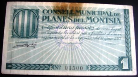 1 pesseta Planes del Montsià (1a emissió, 1937) Planes13