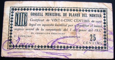 Planes del Montsià 25 Centimos 1937 (Guerra Civil) Planes14