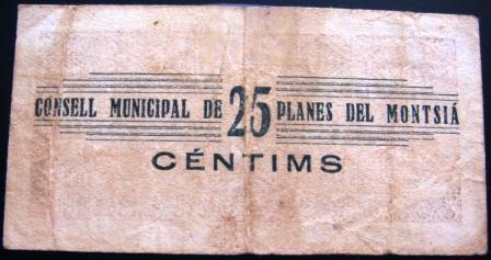 Planes del Montsià 25 Centimos 1937 (Guerra Civil) Planes15