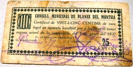 Planes del Montsià 25 Centimos 1937 (Guerra Civil) Planes18