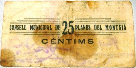 Planes del Montsià 25 Centimos 1937 (Guerra Civil) Planes19