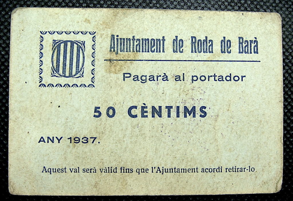 50 Cèntims Roda de Barà, 1937 Rodabe10