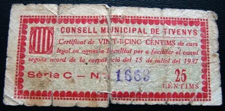 25 Céntimos Tivenys, 1937 Guerra Civil Tiveny11