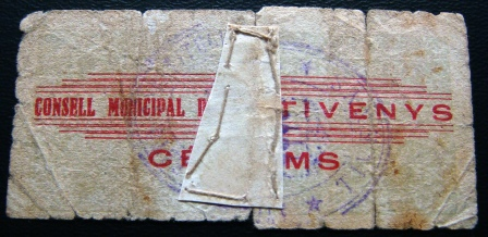 25 Céntimos Tivenys, 1937 Guerra Civil Tiveny12