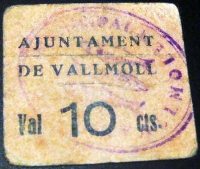 10 Céntimos Vallmoll, 1937  Vallmo10