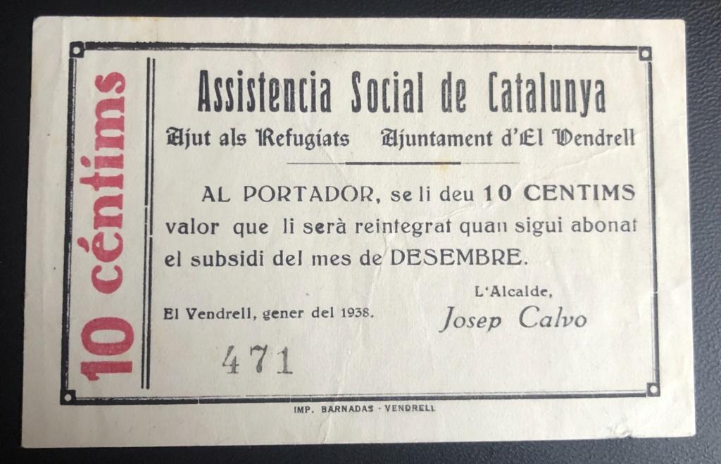 10 Céntimos El Vendrell, 1938 Vendre13