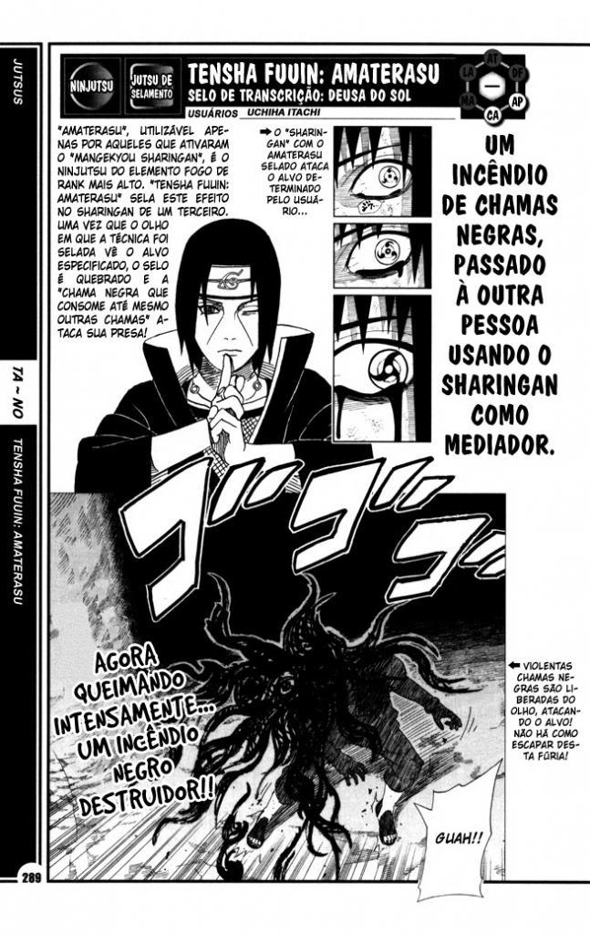 Como o Itachi passou Amaterasu para o Sasuke usar no Obito? 289-te10