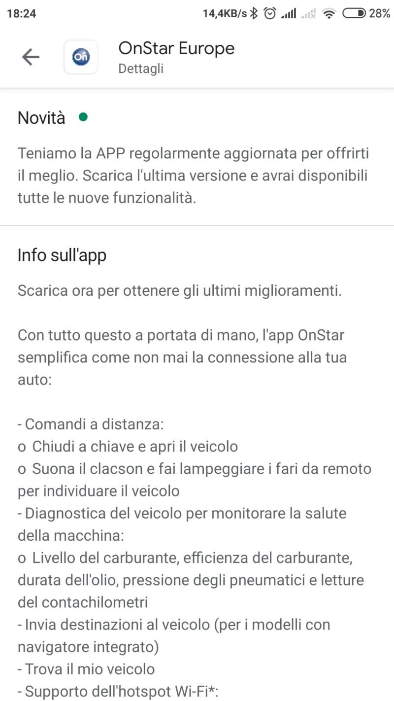 Aggiornamento App Onstar 20191010