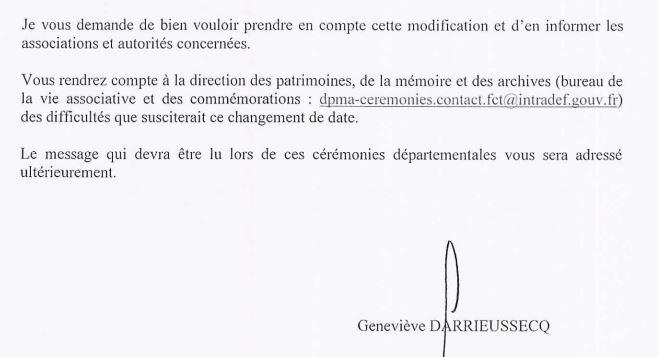 Déplacement des cérémonies du 08 juin dans les départements.  210