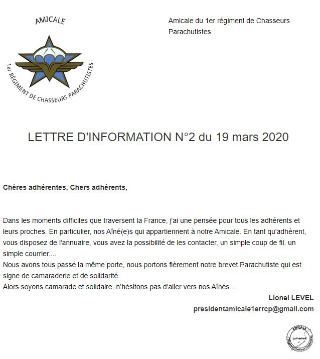amicale 1er RCP, lettre d'information 19 mars 2020 Amical11