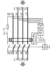 Branchement en triphasé d'un interrupteur différentiel tétrapolaire à un variateur de fréquence Cdb44010