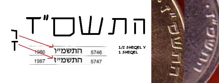Israel, 1/2 shequel, 1 n. shequel, 10 agorot, '87, '87 '81 Fgh_bm10