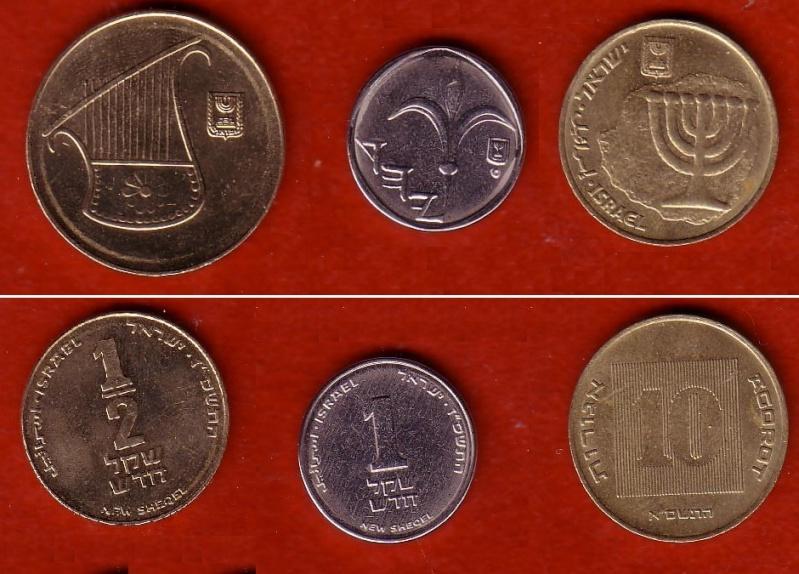 Israel, 1/2 shequel, 1 n. shequel, 10 agorot, '87, '87 '81 Fhjjjj10