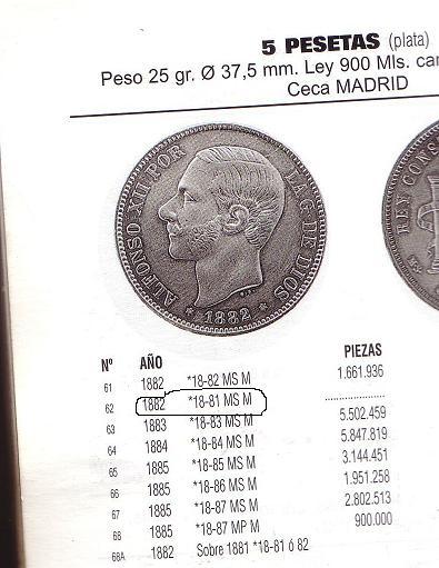 5 pts de Alfonso XII (Madrid, 1882 d.C) Catalo10