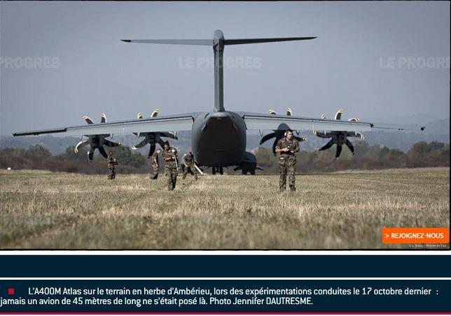 AIN L'A400M, géant du transport militaire, se posera encore sur la piste ambarroise 000a4010