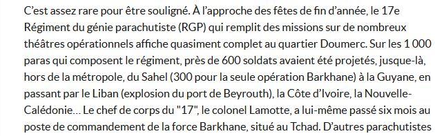 """Colonel Lamotte, chef de corps du 17e RGP : """"Barkhane, une opération difficile et exigeante"""" 17e_rg11"""