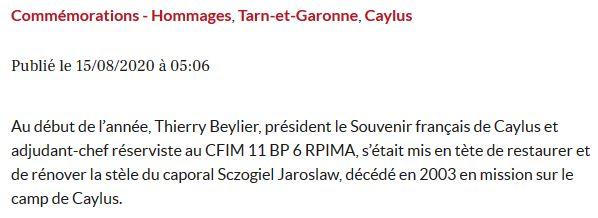 HOMMAGE AU CAMP DE CAYLUS rénovation stèle caporal SCZOGIEL Caylus11