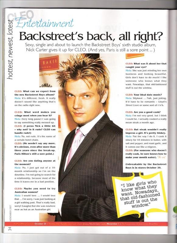 Nick interview in Australian CLEO magazine Cleo110