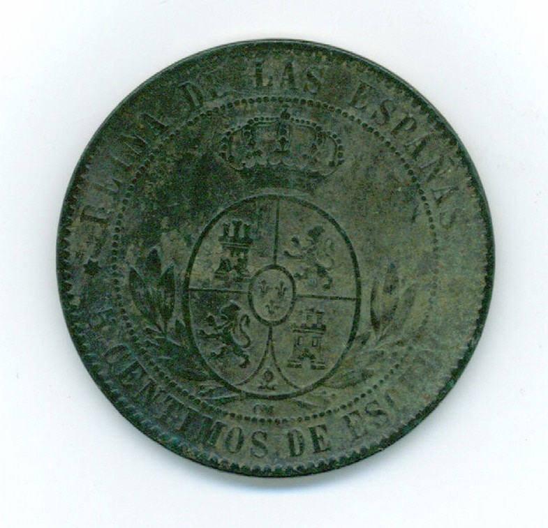 5Cts de Escudo de Isabel II (Barcelona, 1868 d.C) Fotogr13