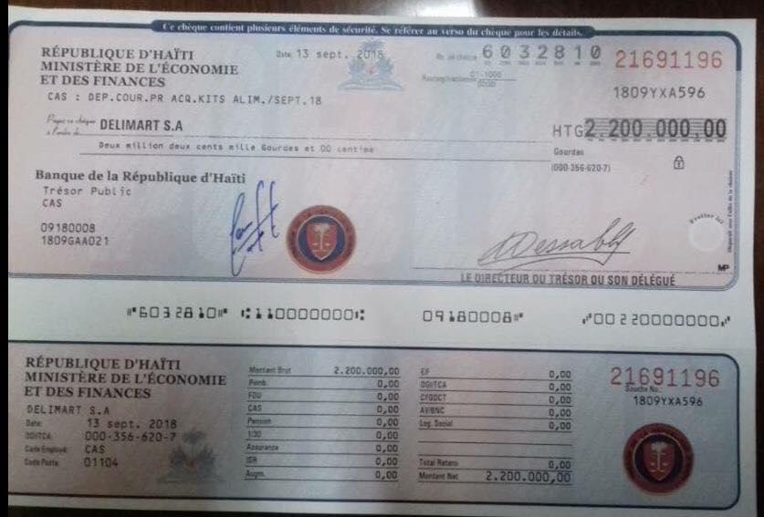 Un chèque de l'État d'Haiti  42564310