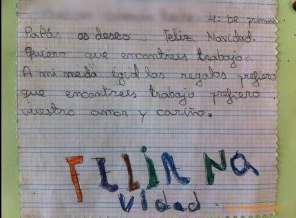 Carta con los deseos de una niña para sus padres en esta navidad Navida10