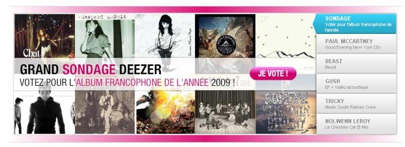Sondage album francophone de l'année sur Deezer Image010