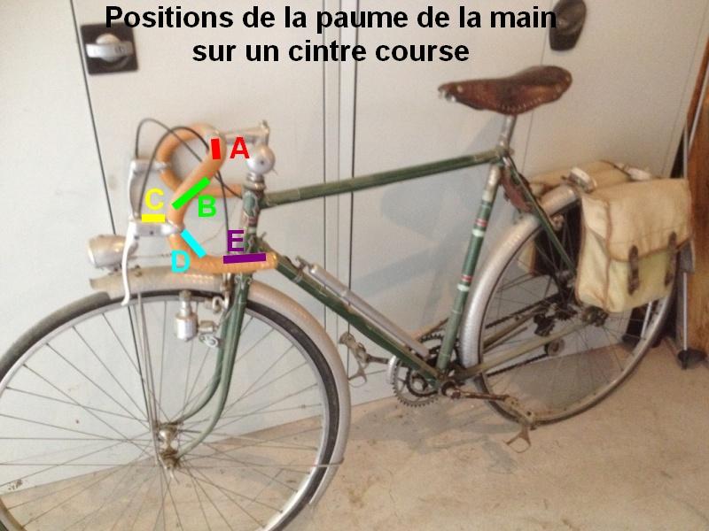 """Positions des mains sur le cintre """"course"""" vintage Postio10"""