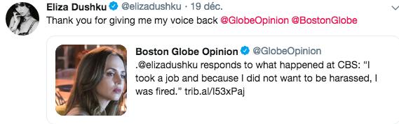 Eliza parle du harcèlement sexuel à CBS Captu459