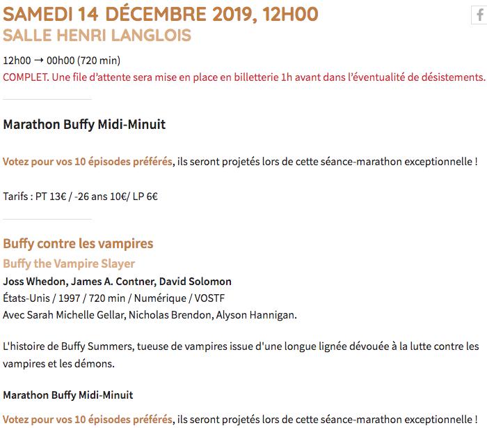 Cinémathèque - Marathon Buffy le 14 décembre 2019 Captu835